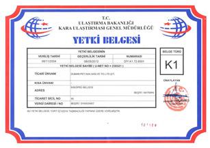 Duman Petrol K1 Yetki Belgesi Sertifikası