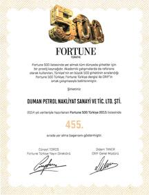 Duman Petrol 500 Fortune Sertifikası